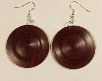 Hand-turned exotic wood earrings