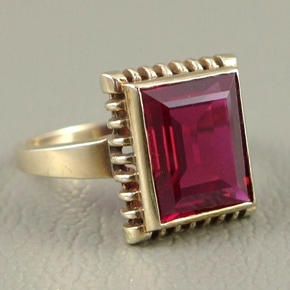Gold Ruby Ring, Art Deco 10K Gold Synthetic Ruby Ring, Art Deco Ruby Ring