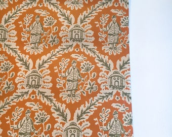 Motif Vintage Wallpaper Oriental Chinoiserie Orange Tan Olive