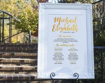 Gold Wedding Program Template, Wedding Program Sign, Wedding Program, Wedding Party Sign, Printable Wedding Program