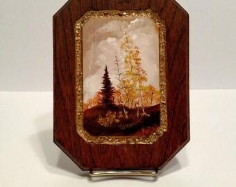 Vintage Autumn landscape miniature painting (signed Vonna)