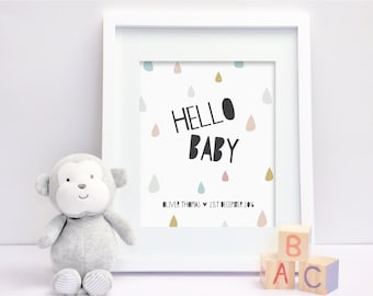 Hello Baby - Personalised Nursery Print - Children's Wall Art - Baby Nursery Decor
