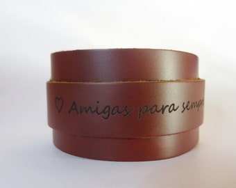 Leather double cuff bracelet engraved - Quote personalized woman gift