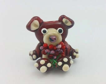 Valentines Bear - Valentines Teddy - Bear with Roses - Valentines Roses - Lampwork Teddy - Bear Bead- Teddy Bead - Lampwork Bear -Glass Bear