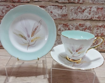 Vintage Pastel green Wheat  Gold Sutherland Fine Bone China Trio Cup Saucer Side Plate