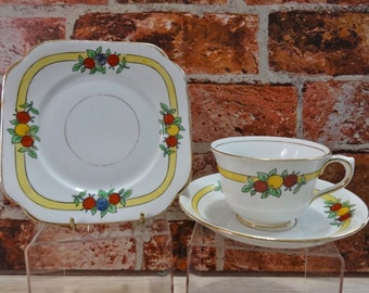 English Bell china Hand painted art deco  Trio Cup Saucer Side Plate Vintage