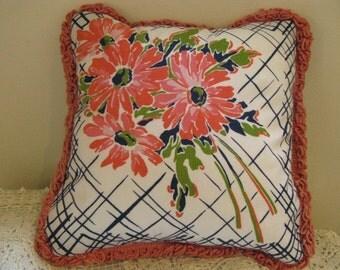 Handmade Vintage Hankie Pillow~One of a Kind Vintage Textiles Pillow~Mid Century Accent Pillow~Boudoir Chic Pillow