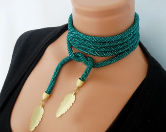 Crochet beaded necklace rope. Lariat.