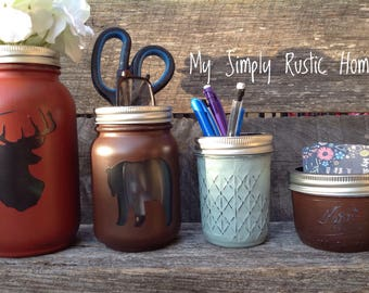 Deer mason jar-Bear Mason Jar Desk Set-Desk Set-Mason Jar Office-Desk Organize-Mason Jar Office Set-Office Set-Desk Decor-cabin decor