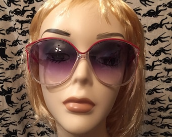 Vintage 1980s Foster Grant Sunglasses Red Clear Mod Retro 1980s Oversized Eyewear Sunnies
