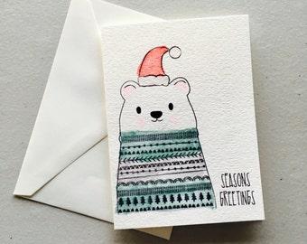 """Polar Bear """"Seasons Greetings"""" Greeting Card"""