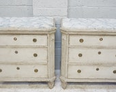 Vintage Pair of Grey Painted Swedish Gustavian Style Chest of Drawers