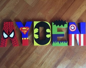 "8"" Superhero Letters Batman Superman Captain America Hulk Flash Thor Spiderman Robin Wolverine Aquaman Captain Cold Green Lantern Cyclops"