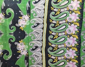 Vintage Kantha Quilt Green and Black