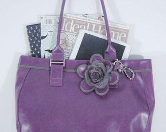 Purple grey vegan faux leather handbag shoulder bag tote