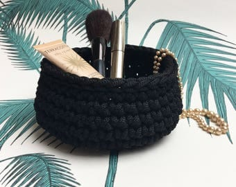 Crochet Basket. Black Basket. Macrame Basket. Storage Basket. Black Decor. Makeup Organizer. Bathroom Decor. Nursery Decor. Handmade