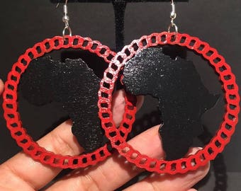 Black and Red Circle Africa Earrings