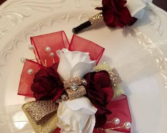 SALE Shades of Red Gold and White Wrist Corsage and Matching Boutonniere   Red Prom Set Ready To Ship