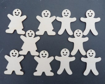 Gingerbread Men & Women Decorations Unfinished for Xmas Decorations etc, Pack of 10 ( 5 of each ) Christmas Craft supplies, Xmas Tree Decs