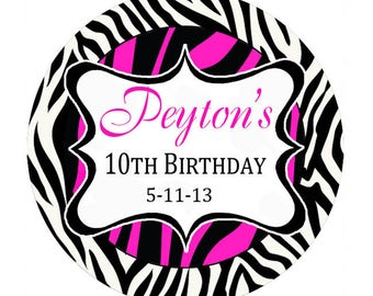 Hot pink zebra print Personalized Stickers Birthday Party, round label