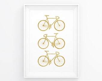 Bike Decal, Cycling Art, Gold Wall Decal, Bicycle Gift, Cycling Poster, Travel Decor, Bicycle Poster, Bike Gift, Bike Wall Art, Gold Art