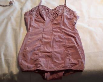 Vintage Rose Marie Reid Lavender Halter swimsuit Zipper Back