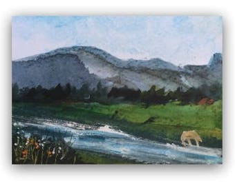 "Landscape painting ORIGINAL Miniature Mixed Media Painting ""Time for a Drink"" ACEO Horse River Mountains Home Decor Gift Idea Wall Art"