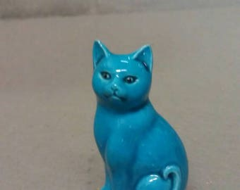 Blue Cat with Colorful Features Cat Figurine