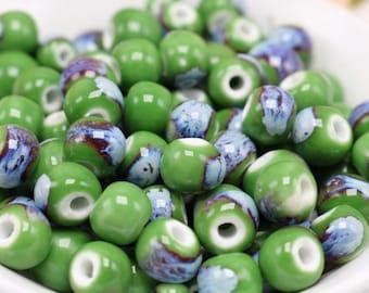 50 x green hollow ceramic beads