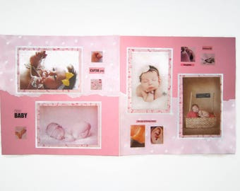 Baby Girl Scrapbook Layout - Baby Girl Scrapbook Pages - Baby Girl Pages - 12 by 12 Baby Girl Layouts - Premade Baby Girl Pages