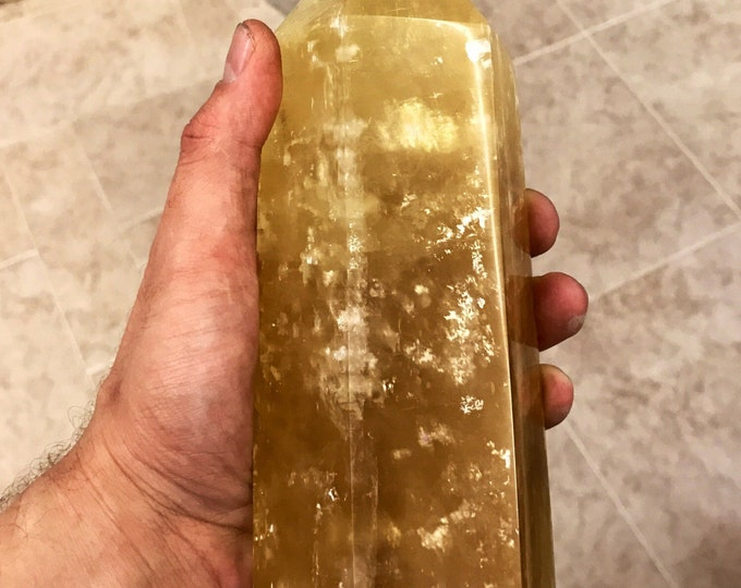 """Golden Calcite Crystal Point from Madagscar- 7"""" X 3"""" Home Decor \ Christmas Gift \ Crystals \ Fung Shui \ Solar Plexus \ Wealth \ Positivity"""