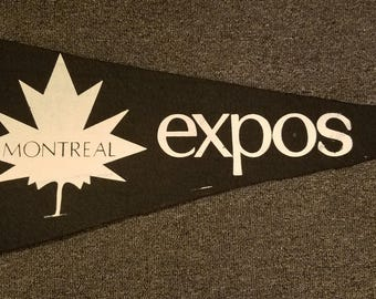 "FREE SHIPPING-1960's-Montreal-Expos-MLB-Baseball-Pennant-Vintage-Original-11.5"" X 29"""