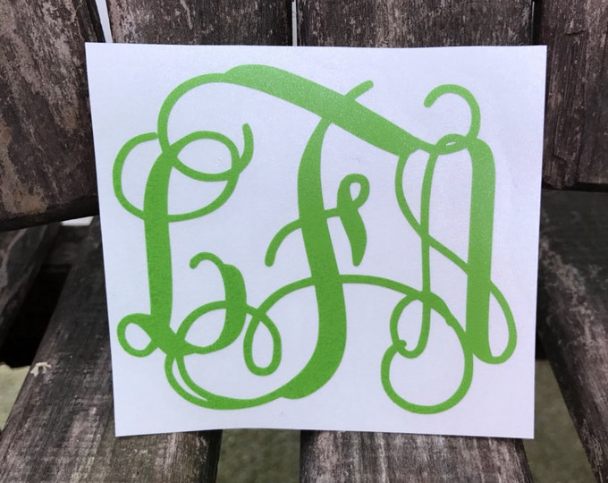 Yeti Decal || Vine Monogram Decal || Vine Decal || Monogrammed || Connecting Vine || Planner Decal || Tumbler Decal || Vinyl Decal