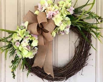 Hydrangea Wreath, Spring Wreath, Summer Wreath, Everyday Wreath, Housewarming Gift, Gift for Her