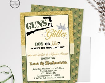 Guns or Glitter Gender Reveal Invitations, Gender Reveal Party, Baby Reveal Party, Gender Reveal Invites, Gender Reveal Party Invitation