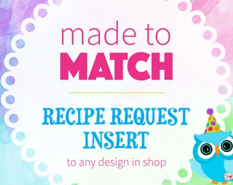 Recipe Request Insert | Matching Recipe Insert,Bridal Shower Party Coordinates, Printable
