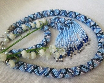 "Ukrainian jewelry. Ukrainian Necklace. Beaded necklace. Set ""Blue""(necklace,bracelet,earrings)"