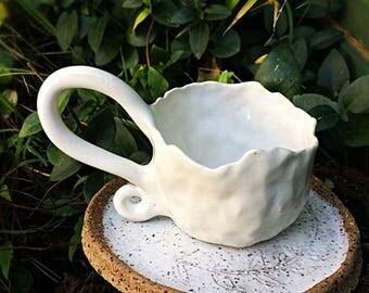Rustic ceramic tea cup set fern plate