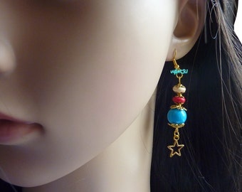 Earrings with turquoise and howlite