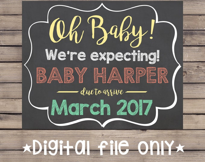 Oh Baby Pregnancy Sign / We're Expecting Pregnancy Reveal / Oh Baby Expecting Sign / Oh Baby Pregnancy Announcement / Expecting Baby Sign