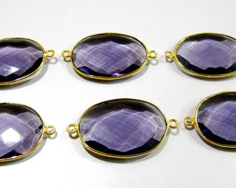 High Finished Beautiful Amethyst Connector , Oval Shape Briolette Connector , 19x25mm Size Bezel , Double Loop, Hydro Quartz Connector Bezel