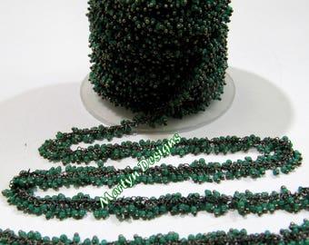 SALE- Hydro Quartz Smooth Beaded Chain , Green Onyx Wire Wrapped Angoori Chain , 2mm Size Cluster Chain , Sold per FOOT , Grape Chain