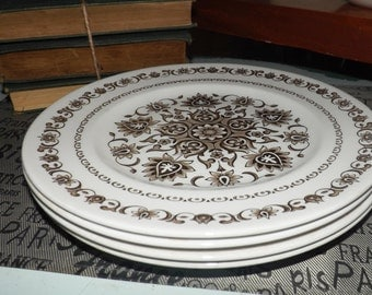 SET of 4 mid-century (1970s) Wood & Sons Canterbury ironstone dinner plates. Brown '70's stylized floral pattern.
