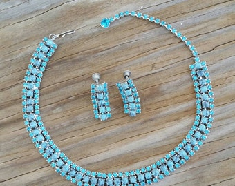 1960's Blue rhinestone and Turquoise glass choker style necklace and screw back earrings set,Pin Up,Rockabilly, VLV, Holiday Jewelry, Estate