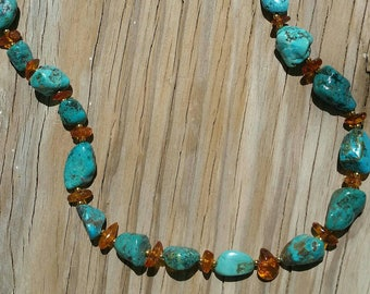 Chunky Turquoise Necklace With Amber Chip Beads Bohemian Jewelry Southwest Jewelry Turquoise Necklace Amber Necklace
