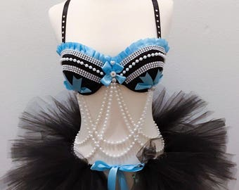 Alice in wonderland Rave Bra EDC outfit halloween Costume Festival outfit blue white black