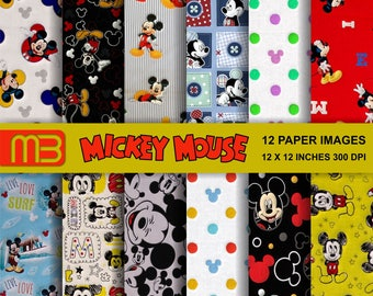 Mickey Mouse patterns digital paper pack - printable papers - Instant download - 12x12 inches papers - for home printing - DIY