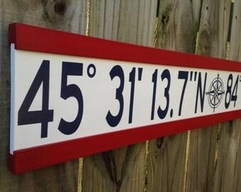 Personalized latitude longitude sign/custom wood sign latitude longitude/gps coordinates sign/address coordinates/longitude latitude sign