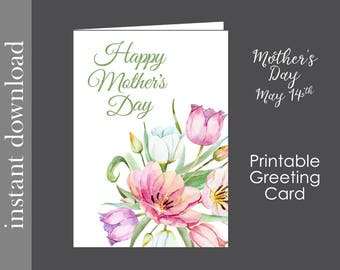 Happy Mother's Day, Mothers Day Card, Printable Card, card for mom, flower card, card download, diy, generic card, grandma card, aunt card