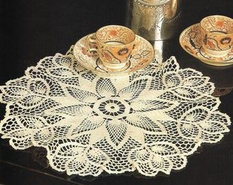 Fanfare Doily Crochet Pattern - PDF Instant pattern Download - Crochet Pattern For 16 Inch Table Doily